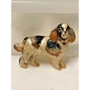 Cocker Spaniel Enameled Dog Brooch CT - Black Tan